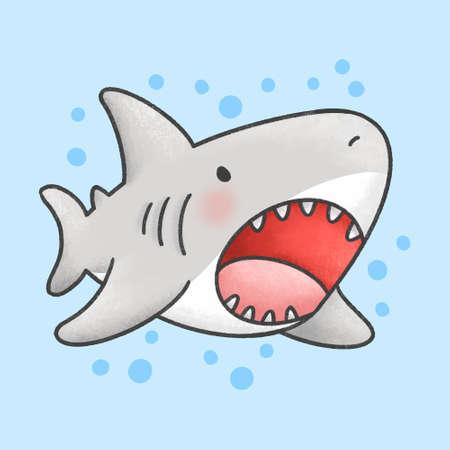 Cute shark hand drawn cartoon animal character. Hand drawing vector. Cartoon character design Vector Illustration