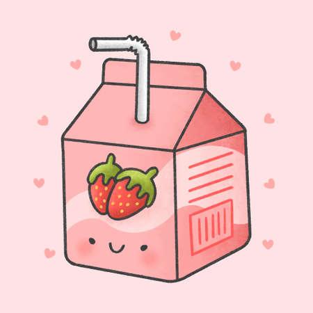 Cute strawberry milk box hand drawn cartoon character. Hand drawing vector. Cartoon character design.