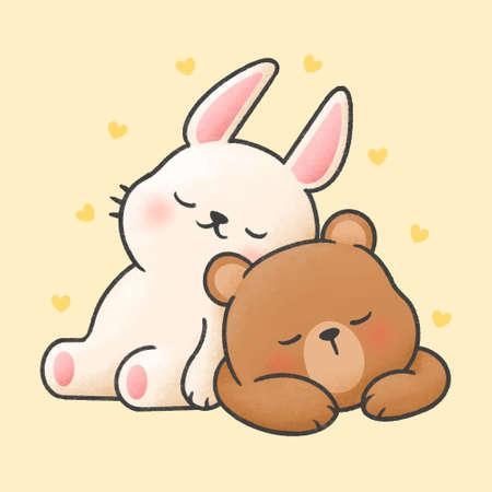 Rabbit and bear sleeping together hand drawn cartoon animal character. Hand drawing vector. Cartoon character design