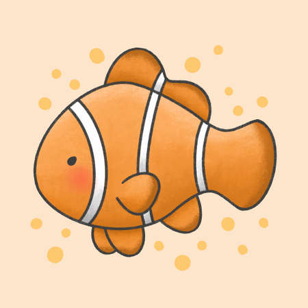 Cute ocellaris clownfish hand drawn cartoon animal character. Hand drawing vector. Cartoon character design. Vectores
