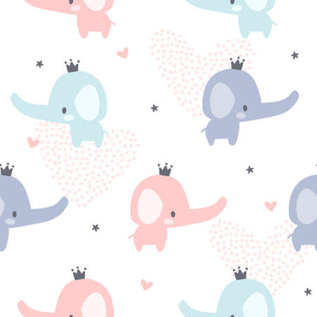 Baby elephant and crown seamless background repeating pattern, wallpaper background, cute seamless pattern background Foto de archivo - 133553317