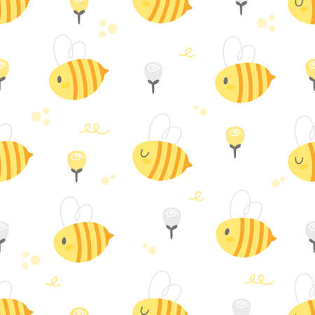 Cute bee and rose flowers seamless background repeating pattern, wallpaper background, cute seamless pattern background