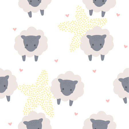 Cute sheep seamless background repeating pattern, wallpaper background, cute seamless pattern background Illustration