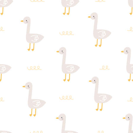 Duck seamless background repeating pattern, wallpaper background, cute seamless pattern background Illustration