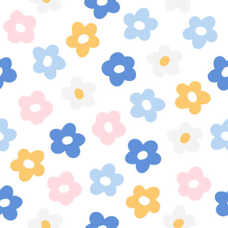 Flowers seamless background repeating pattern, wallpaper background, cute seamless pattern background
