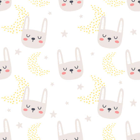 Hand drawn rabbit seamless background repeating pattern, wallpaper background, cute seamless pattern background