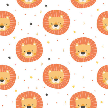 Lion head seamless background repeating pattern, wallpaper background, cute seamless pattern background