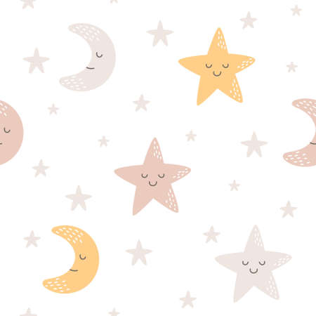 Moon and star seamless background repeating pattern, wallpaper background, cute seamless pattern background