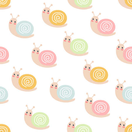 Snails seamless background repeating pattern, wallpaper background, cute seamless pattern background