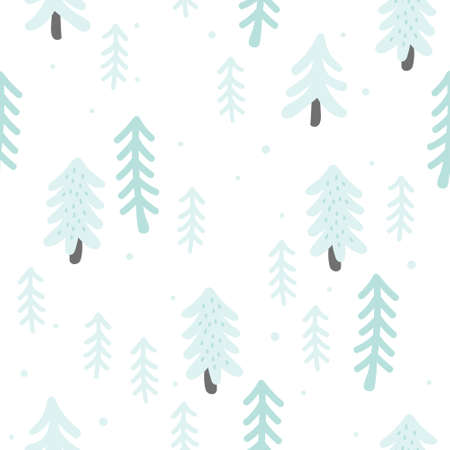 Winter and snow tree seamless background repeating pattern, wallpaper background, cute seamless pattern background