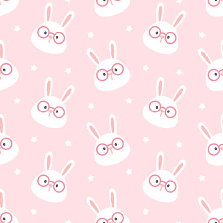 Cute rabbit with glasses seamless background repeating pattern, wallpaper background, cute seamless pattern background Illustration