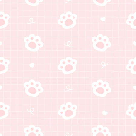 Cute cat paws footprint seamless background repeating pattern, wallpaper background, cute seamless pattern background