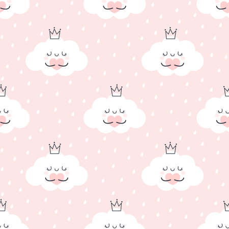 Cute cloud hugging heart seamless background repeating pattern, wallpaper background, cute seamless pattern background  イラスト・ベクター素材