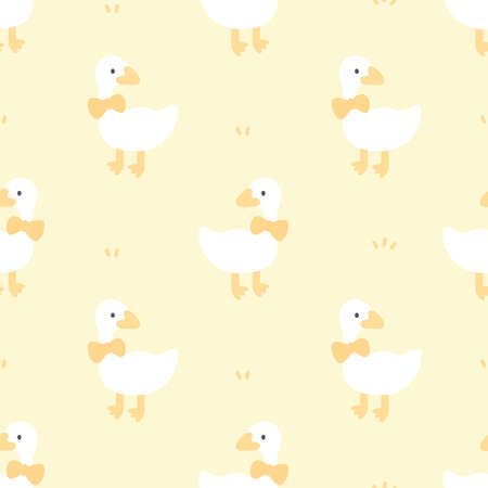 Cute duck with bow tie seamless background repeating pattern, wallpaper background, cute seamless pattern background  イラスト・ベクター素材