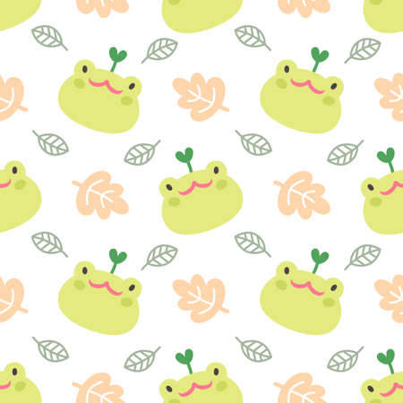 Cute frog and leaf seamless background repeating pattern, wallpaper background, cute seamless pattern background  イラスト・ベクター素材