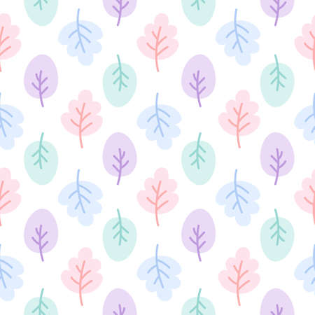 Cute pastel leaf seamless background repeating pattern, wallpaper background, cute seamless pattern background