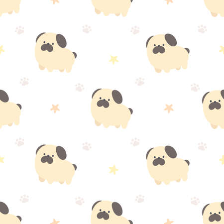 Cute pug dog seamless background repeating pattern, wallpaper background, cute seamless pattern background