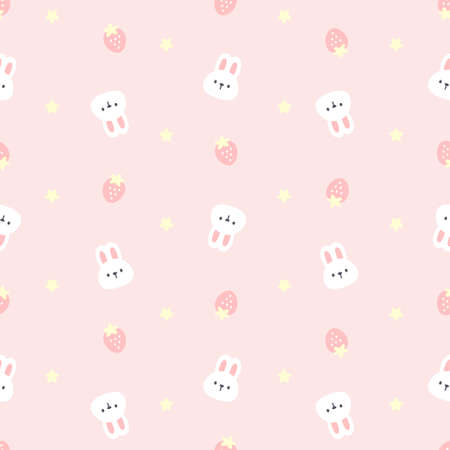 Cute rabbit and strawberry seamless background repeating pattern, wallpaper background, cute seamless pattern background Ilustração