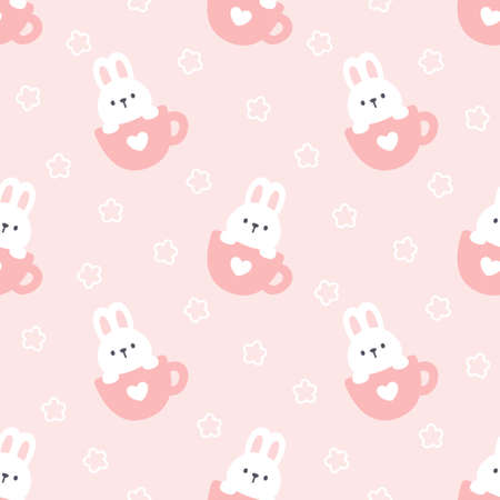 Cute rabbit in a cup of coffee seamless background repeating pattern, wallpaper background, cute seamless pattern background