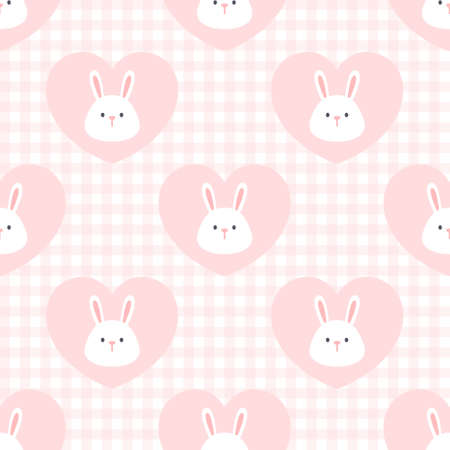 Cute rabbit in a heart seamless background repeating pattern, wallpaper background, cute seamless pattern background Ilustração