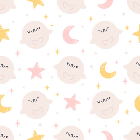 Cute seal with moon and stars seamless background repeating pattern, wallpaper background, cute seamless pattern background