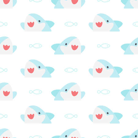 Cute shark and fish seamless background repeating pattern, wallpaper background, cute seamless pattern background