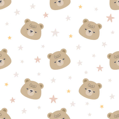 Cute sleepy bear with stars seamless background repeating pattern, wallpaper background, cute seamless pattern background