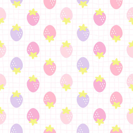 Cute strawberry seamless background repeating pattern, wallpaper background, cute seamless pattern background
