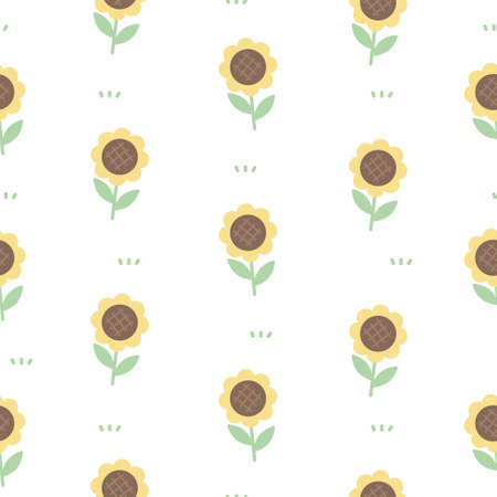 Cute sunflowers seamless background repeating pattern, wallpaper background, cute seamless pattern background Ilustração