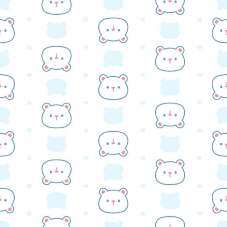 Adorable bear seamless background repeating pattern, wallpaper background, cute seamless pattern background Ilustração