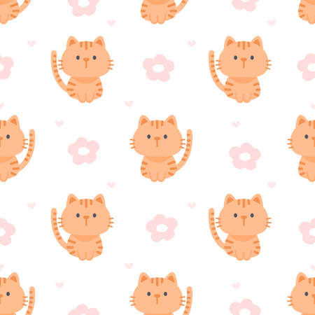 Cat and flowers seamless background repeating pattern, wallpaper background, cute seamless pattern background