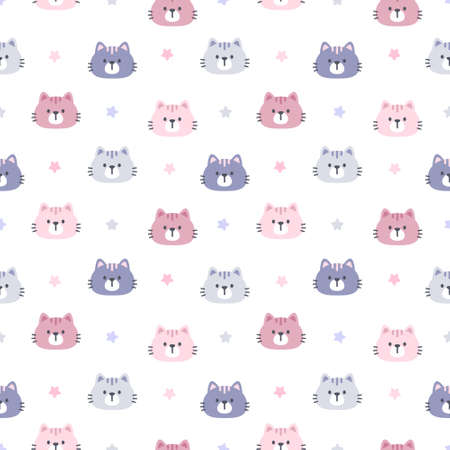 Cat and star seamless background repeating pattern, wallpaper background, cute seamless pattern background Ilustração