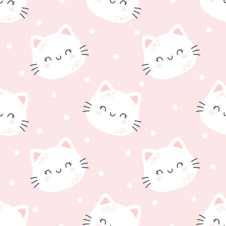 Cat planet seamless background repeating pattern, wallpaper background, cute seamless pattern background Ilustração