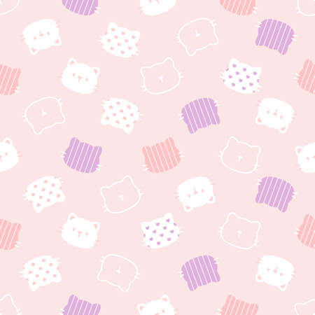 Cat seamless background repeating pattern, wallpaper background, cute seamless pattern background