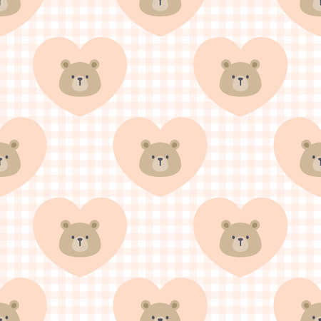 Cute bear heart seamless background repeating pattern, wallpaper background, cute seamless pattern background Ilustração