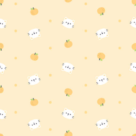 Cute cat and orange seamless background repeating pattern, wallpaper background, cute seamless pattern background Ilustração