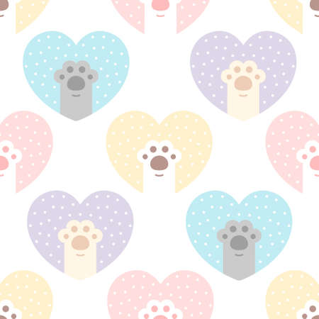 Cute cat paw footprint with heart seamless background repeating pattern, wallpaper background, cute seamless pattern background