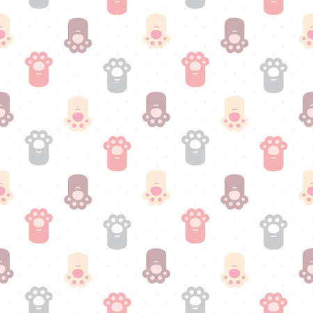 Cute cat paws footprint hands seamless background repeating pattern, wallpaper background, cute seamless pattern background Ilustração