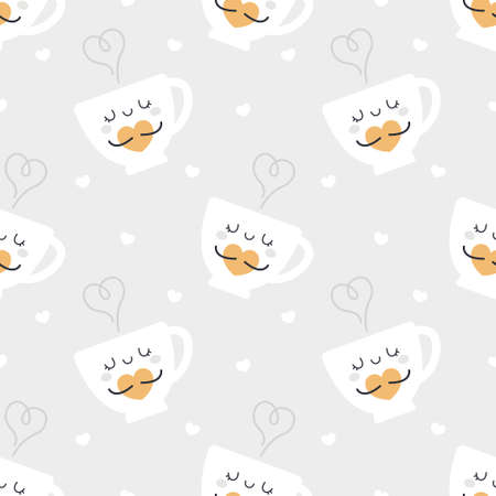 Cute cup of coffee seamless background repeating pattern, wallpaper background, cute seamless pattern background Ilustração