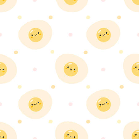 Cute fried eggs seamless background repeating pattern, wallpaper background, cute seamless pattern background