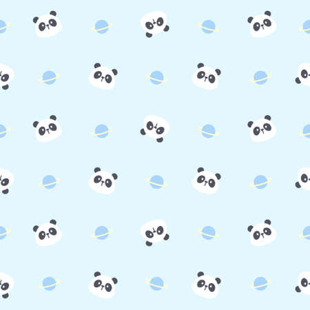 Cute panda bear and planet seamless background repeating pattern, wallpaper background, cute seamless pattern background