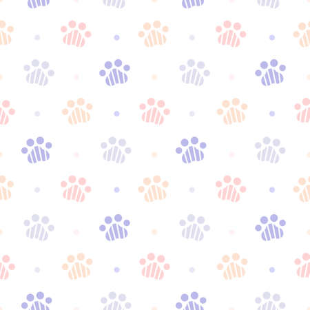 Cute paw footprint seamless background repeating pattern, wallpaper background, cute seamless pattern background Ilustração