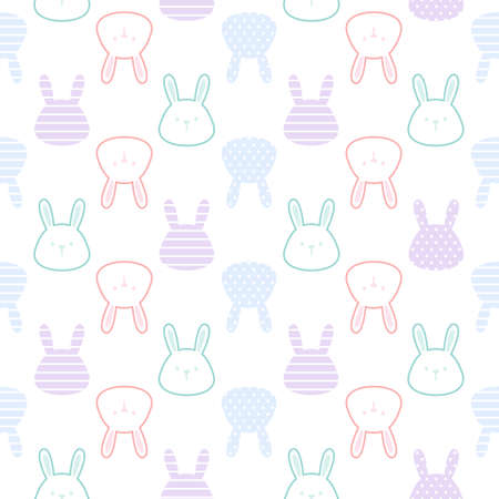 Cute rabbit seamless background repeating pattern, wallpaper background, cute seamless pattern background Ilustração