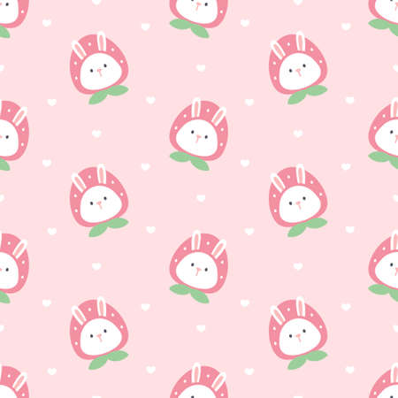 Cute rabbit with strawberry hat seamless background repeating pattern, wallpaper background, cute seamless pattern background