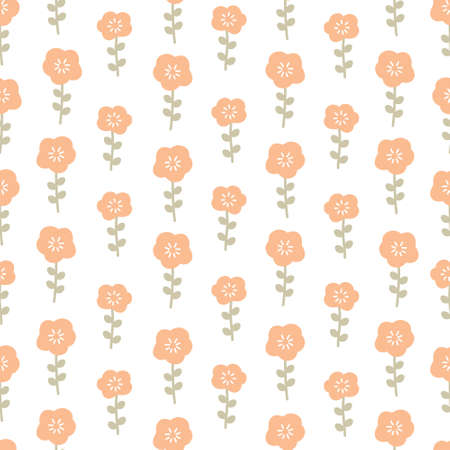 Orange flowers seamless background repeating pattern, wallpaper background, cute seamless pattern background Ilustração