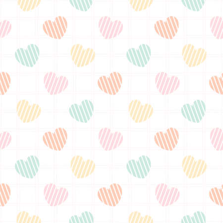 Pastel heart seamless background repeating pattern, wallpaper background, cute seamless pattern background