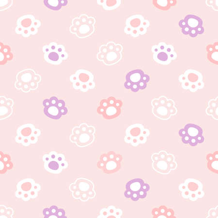 Paw footprint hands seamless background repeating pattern, wallpaper background, cute seamless pattern background