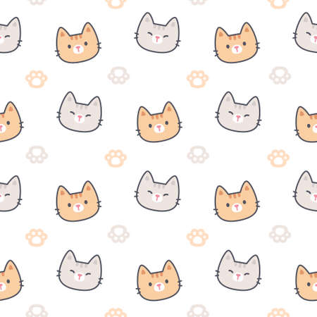 Cat with paws footprint seamless background repeating pattern, wallpaper background, cute seamless pattern background Ilustração
