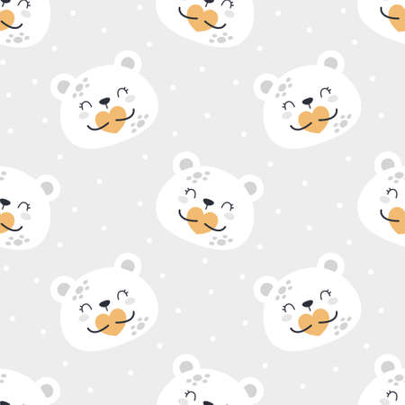 Cute bear planet seamless background repeating pattern, wallpaper background, cute seamless pattern background