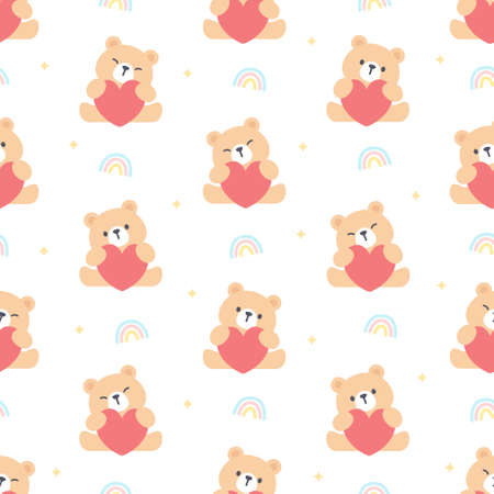 Bear hugging heart seamless background repeating pattern, wallpaper background, cute seamless pattern background
